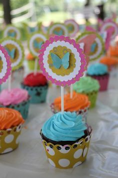 butterfly cupcakes first birthday ideas - Google Search