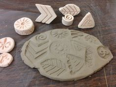 Some stamps I recently made that turned out great! Ceramics. Stamps. Pottery.