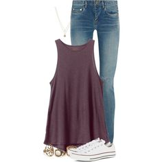 Casual Tuesday by newyearscutie on Polyvore featuring RVCA, Yves Saint Laurent, Converse and LC Lauren Conrad