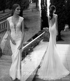 Amazing Backless Lace Wedding Dresses Mermaid Deep V $224.21