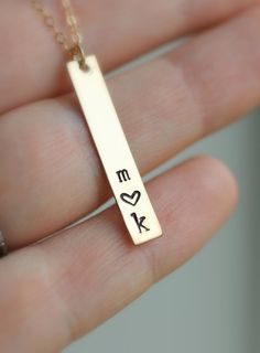 Mom Necklace Gold Bar Necklace Two Initial von LRoseDesigns auf Etsy