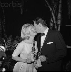 """Doris Day and Rock Hudson at the Golden Globes, 1960. They won for their roles in """"Pillow Talk""""."""