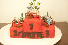 Cars Cake with red chocolate ganache