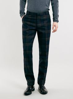 MADE IN ENGLAND BURGUNDY CHECK SUIT TROUSERS