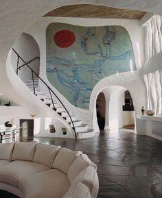 Interior Architecture, Interior And Exterior, Organic Architecture, Cob House Interior, Interior Livingroom, Exterior Design, Dream Home Design, House Design, Retro Interior Design