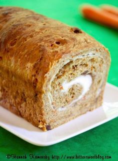 Vegan Carrot Cake Bread with Dairy-Free Cream Cheese Swirl (a yeast bead recipe) - tender, delicious and made to impress!