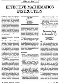 Developing Automaticity  Ted S. Hasselbring, Laura I. Goin, John D. Bransford  TEACHING Exceptional Children  Vol 19, Issue 3, pp. 30 - 32  First published date: March-01-1987  10.1177/004005998701900309