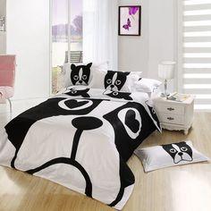 New Beautiful 100% Cotton 4pcs Doona Duvet Cover Set Quilt Sheet bedding sets Full Queen King Cartoon white black dog(China (Mainland))