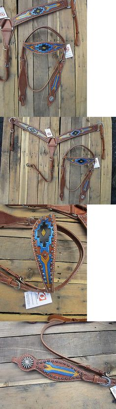 Bridles and Headstalls 3177: Western Headstall Breast Collar Show Black Blue Tooled Leather Horse Bridle Tack -> BUY IT NOW ONLY: $79.19 on eBay!