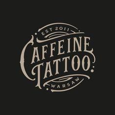 New logo design for Caffeine Tattoo Typography Layout, Graphic Design Typography, Lettering Design, Branding Design, Typography Letters, Tattoo Studio, Studio Logo, Typography Inspiration, Logo Design Inspiration