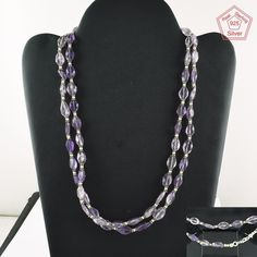 New Exclusive Amethyst Stone Beaded Design 925 Sterling Silver Necklace CH2970…