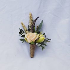BUTTONHOLE F l o r a l S t y l i s t ( Buttonholes looking a little bit cute ♡♡ Loved the simple rustic style and peachy tones 🍑 Buttonholes, Cute Love, Rustic Style, Wedding Flowers, Simple, Plants, Plant, Rustic Fashion, Planets