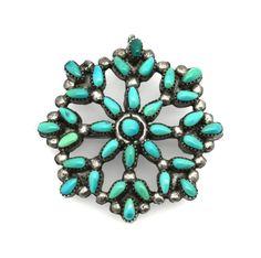 Sterling Silver Genuine Turquoise Needle Point Pin / Pendant Zuni Nati... Lot 41