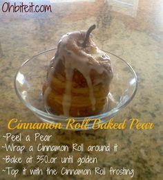 Cinnamon Roll Baked Pear!