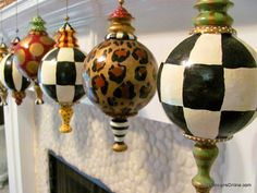 Hand Painted Large Finial Style Designer Christmas Ornaments, Black and White Checks, Stripes, Leopard Print and Dots