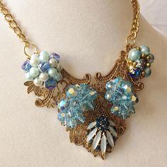 Blue rhinestone glamour statement necklace Vintage Heirloom
