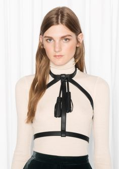 & Other Stories Zana Bayne Leather Collar Harness in Black, $125
