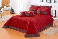Cobre Leito Royalle Vermelho Quarto Casal Super King 11 Pçs - R$ 399,90