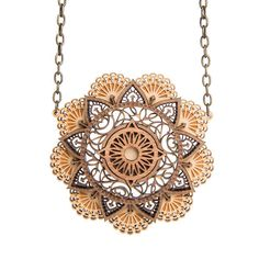 Mandala necklace - laser cut wood