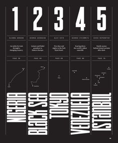 I like the layout of this design--the straightforward column structure and rules make it easy to understand the information but the contrast between the headline font and the body copy (as well as the orientation of the geographic areas) keep it fun. Graphic Design Layouts, Brochure Design, Graphic Design Inspiration, Layout Design, Web Design, Design Posters, Design Ideas, Mise En Page Portfolio, Portfolio Design