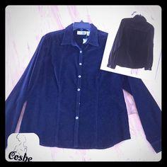 Black Velour Button Up Shirt Black velour button up shirt w/small brush silver buttons. Shirt is plain in back. Perfect w/jeans & a vest. Paul H Tops Button Down Shirts
