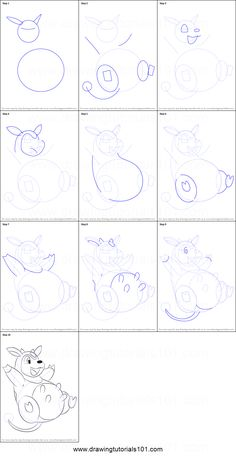How to Draw Miltank from Pokemon printable step by step drawing sheet : DrawingTutorials101.com