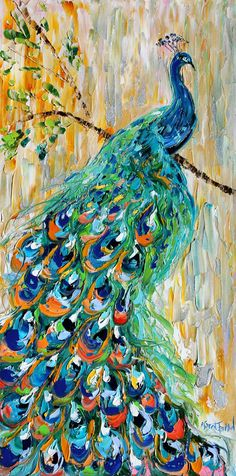 Original oil painting PEACOCK bird decorative by Karensfineart