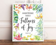 In Your Presence There Is Fullness Of Joy, Psalm 16:11, Bible Verse Prints, Printable Bible Verse, Christian Wall Art, Scripture Prints Succulent Wall Art, Cactus Wall Art, Cactus Print, Scripture Wall Art, Bible Verse Art, Printable Bible Verses, Printable Wall Art, Scriptures For Kids, Psalm 16