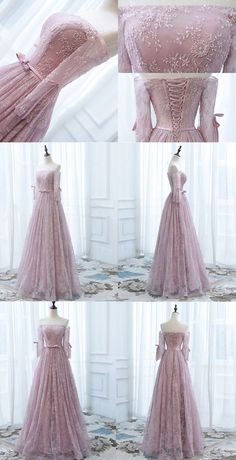 Long Prom Dress,Off Shoulder Prom Dress, Vintage Princess Prom Dress,Dusty Pink Lace Prom Dress, Bow on Luulla Princess Prom Dresses, Prom Dresses For Teens, Prom Dresses With Sleeves, Trendy Dresses, Ball Dresses, Nice Dresses, Evening Dresses, Beautiful Dresses, Dress Prom