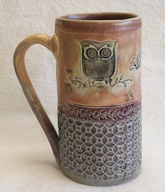 handmade owl ceramic coffee mug 20oz stoneware by desertNOVA, $22.00