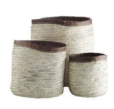 Round Basket with Leather Edge - Set of 3 Round Basket, Wicker Baskets, Container, Leather, Design, Fall, Products, Decorations, Autumn