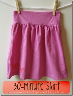 30 Minute Pink Skirt Made from T-shirt skirt tutorial Sewing Kids Clothes, Sewing For Kids, Sewing Hacks, Sewing Tutorials, Sewing Projects, Sewing Tips, Sewing Ideas, Sewing Crafts, Diy Couture