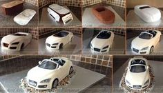 Here are the pictures I took over the 5 days to make the Audi cake. My son Joshua printed out blueprints to help me get more of an even shape and size. I would never have thought of doing that........
