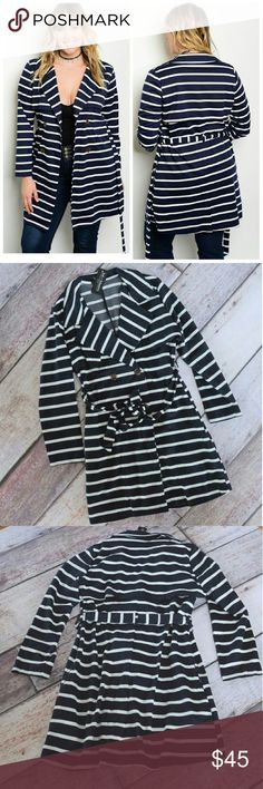 Plus size double breasted jacket in stripe Navy Sorry, NO TRADES  Price firm unless bundled   Save money and bundle!  Save 10 percent on any bundle of 2 or more items! Sofi + Sebastien  Jackets & Coats