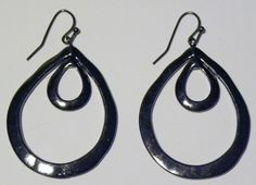 """Black Hematite Tear Drops $8.95  Double tear drop design earrings. Perefect for a monochromatic black look that can go from day to night. Also available in silver and black. 1 1/2"""" total drop length. #earrings #accessories #fashion #jewelry"""