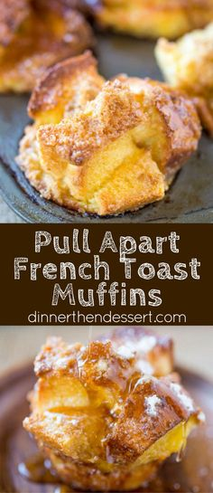 French Toast Muffins are easy to toss together with ingredients you already have in your kitchen and they're a perfect brunch dish for a crowd and fun to pull apart. Breakfast For A Crowd, Food For A Crowd, Breakfast Dishes, Best Breakfast, Breakfast Recipes, Brunch Ideas For A Crowd, Birthday Breakfast, Birthday Brunch, Breakfast Muffins