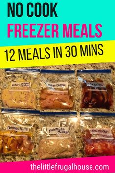 No time for dinner, but don't want to waste more money eating out? Make these easy and quick chicken no cook freezer meals! By using just one meat, you'll get these meals made quickly and easily. Chicken Freezer Meals, Freezable Meals, Freezer Friendly Meals, Budget Freezer Meals, Slow Cooker Freezer Meals, Make Ahead Freezer Meals, Crock Pot Freezer, Freezer Cooking, Freezer Recipes