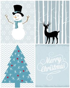 Free Christmas Printables All in Blue !! I ♥ these !