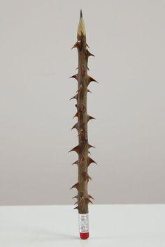 coneptual sculpture by Seyo Cizmic - Rose stem, pencil lead and eraser Rose Stem, Art Sculpture, Surrealism Sculpture, Wow Art, Conceptual Art, Art Plastique, Installation Art, Art Installations, Contemporary Artists