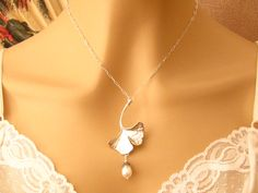 Romantic Necklace: Art Nouveau Antiqued Silver Ginkgo Leaf and Pearl Bridal Necklace - Engagement or Wedding Gift - Wedding Jewelry. $39.50, via Etsy.