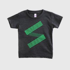 """This is SU-PA- (""""super"""" in Japanese) our tri-black kids t-shirt with neon green ink print. Perfect for boys and girls.SU-PA- is available in sizes 2T, 4T"""