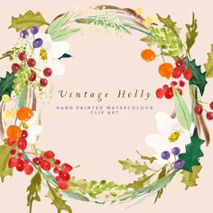 Holly Watercolour Clipart Hand Painted Graphics  by CreateTheCut