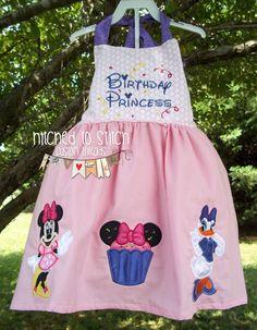 Minnie and Daisy Birthday Princess Halter Dress, Minnie Birthday Dress, Daisy Duck Birthday Dress, Girls Halter Dresses, Birthday Dresses by HitchedtoStitch on Etsy