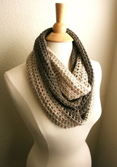 WEEKEND IN PARIS - Baby Alpaca Infinity Scarf in Taupe & Cream by www.BehindMyPicketFence.com