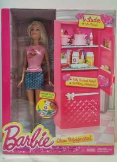 Barbie Glam Refrigerator 10 pieces fully stocked fridge New in box 2014 3+