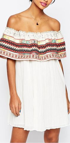 loooove the woven ruffle on this off the shoulder dress