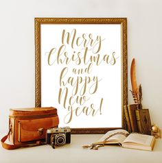 Merry Christmas and happy New year by ViolaMirabilisPrints on Etsy