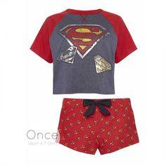 PRIMARK Ladies DC COMIICS SUPERMAN LOGO Pyjamas Shorts & Cropped T Shirt SET #Primark #PyjamaSets #Everyday