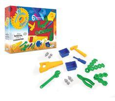 0493.2 - Kit de Ferramentas Oficina de Criações | Acompanham 6 ferramentas plásticas e parafusos para brincar. | Faixa Etária: +3 anos | Medidas: 35 x 6 x 27 cm | Jogos e Brinquedos | Xalingo Brinquedos | Crianças