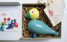 WOODEN BIRD FIGURINE for BABY NURSERY or CHILDREN ROOMS I Beautiful Kay Bojesen Songbirds | E-glue